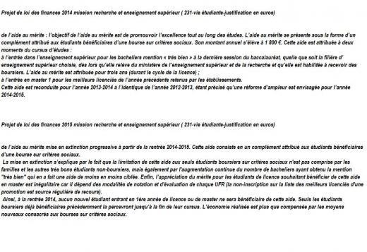 Bourse merite difference 2013 2014